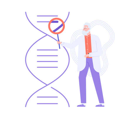 Male doctor with a magnifier next to a DNA.