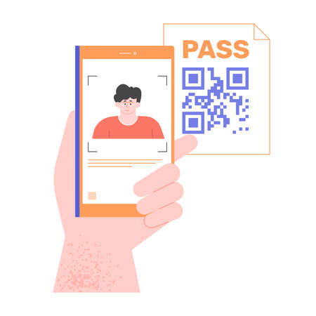 Hand holds smartphone with electronic id. Read qr code. Identification and technology. Vector flat illustration. Stockfoto