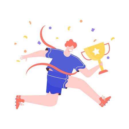 Winner man with a golden cup. Runner crosses the finish line. Sport and achieving goals. Vector flat illustration with colorful trendy character.