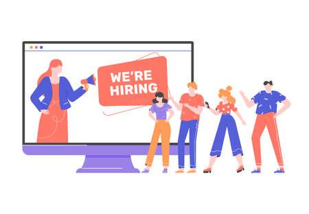 Concert illustration of hiring employees. Stockfoto