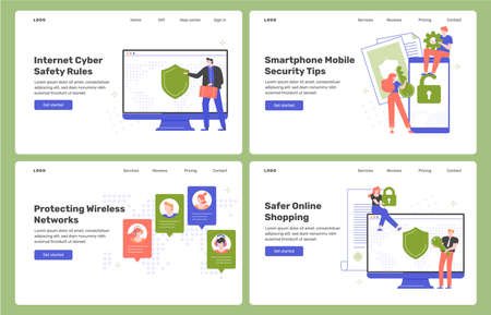 Four cybersecurity landing pages templates.