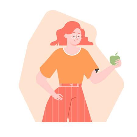 Girl waist-high with an apple.
