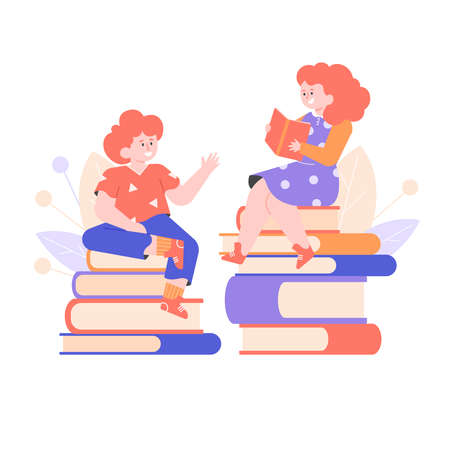 Children are sitting on stacks of books.