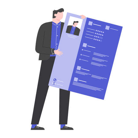 Man in a business suit holds a CV in his hands. Stockfoto