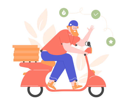 Courier on a moped delivers pizza to customers. Stockfoto
