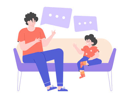 Dad and little son are sitting on the couch. Man talks to his child, teaches him, gives advice. Speech dough. Family evening. Vector flat illustration. Stockfoto