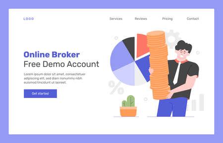 Online broker landing page design concept. Stockfoto - 147307070