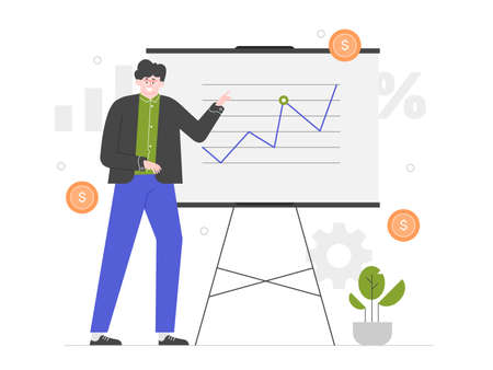 Finance presentation. Man stands at the blackboard Stockfoto - 147305971