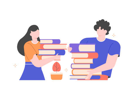 Man and a woman are holding stacks of books.
