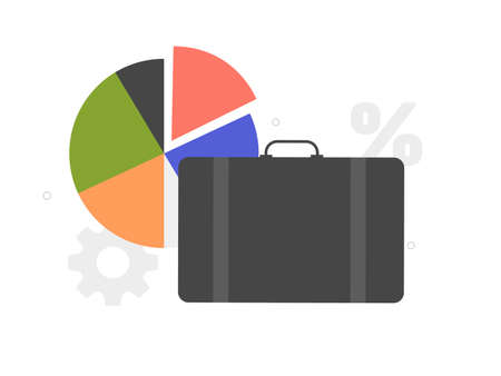 Briefcase and pie chart. Portfolio of stocks Çizim