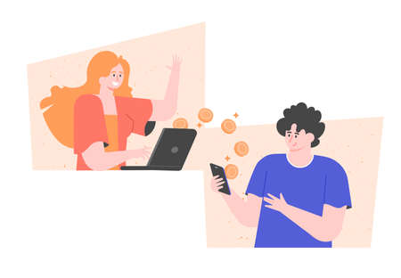 Transfer money online. A girl transfers payment from a laptop to a guys smartphone. Vector flat illustration.