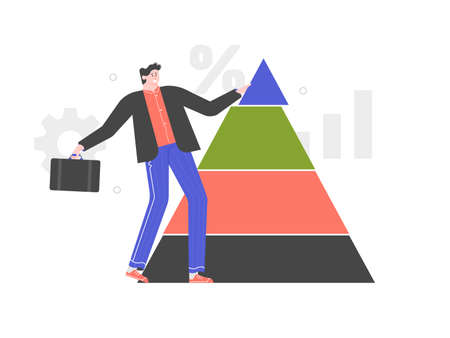 Portfolio structure. Male investor Stockfoto - 147467383