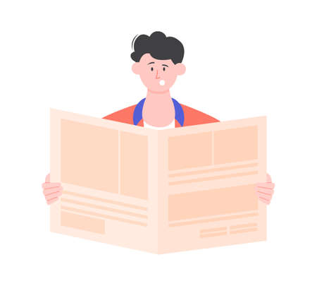 Woman is reading a newspaper.