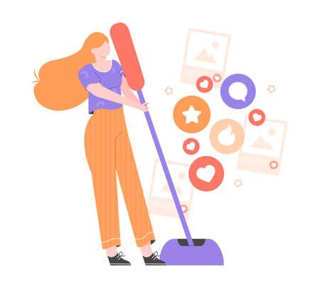 Social Media Marketing. The girl pulls a lever. Vektorgrafik