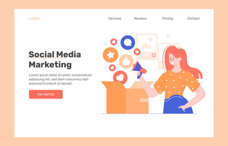 Social Media Marketing. Landing page concept. Çizim