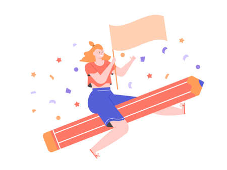 Girl flies on a giant pencil, holds a flag.