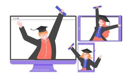 Online university graduates. Stockfoto - 148330913