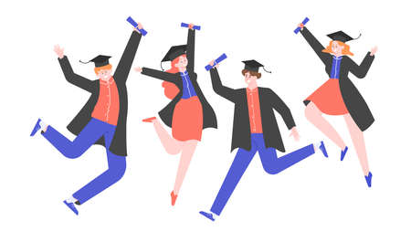 Joyful graduates in academic hats