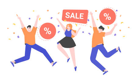 Happy people are jumping. Discounts and sales.