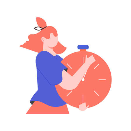 Faceless girl with a stopwatch. Illustration