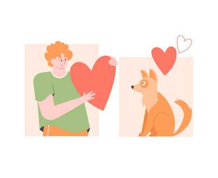 Male character with a heart and a fluffy cute dog.