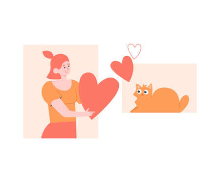Love of pet and owner. Girl gives heart to a cat. Adoption an animal from a shelter. Vector flat illustration. Çizim