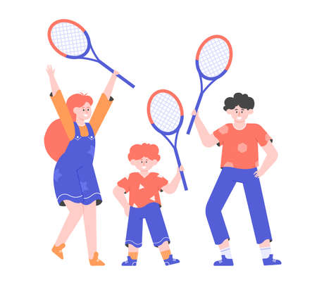 Group of children with tennis rackets
