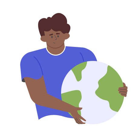 African american man holds a globe.