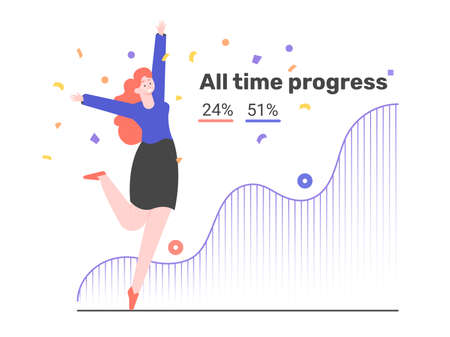 Joyful girl and progress graph. Setting and achieving goals. Strategy and success.