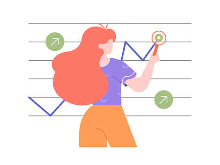 Girl with a magnifying glass analyzes the graph. Financial growth, achievements, reports research.