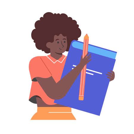 Cute black girl character with book and pencil.