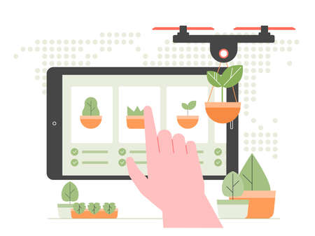 Modern agriculture. Robot drone is engaged in planting seeds, new trees.
