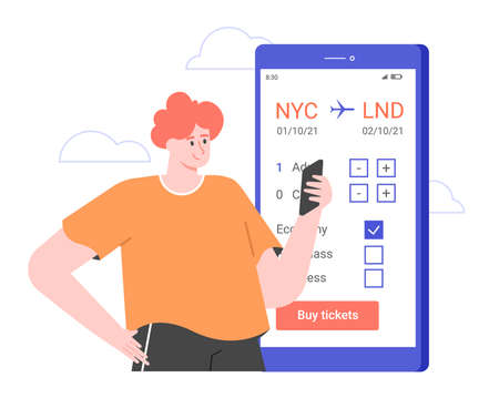 The man books a plane ticket in the application on his smartphone. Stock Illustratie