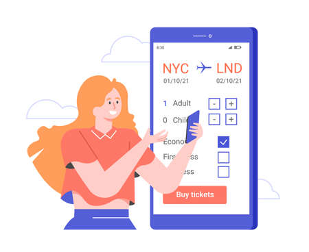 The girl books a plane ticket in the application on her smartphone.