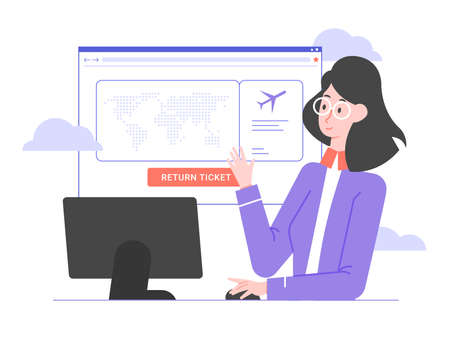 Cute airline employee, computer monitor and browser window. Stock Illustratie