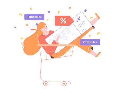 Cheerful cute girl in a shopping basket with a giant plane ticket. Stock Illustratie