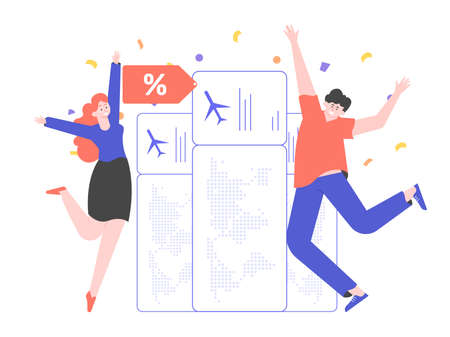 People rejoice at the bargain price of air tickets. Stock Illustratie