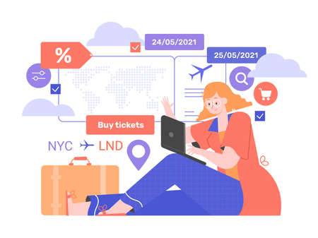 Girl with laptop, suitcase and plane ticket. Stock Illustratie