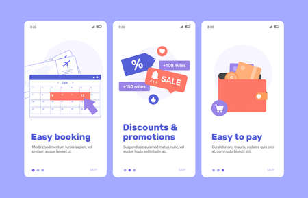 Welcome screens of the flight booking mobile application.