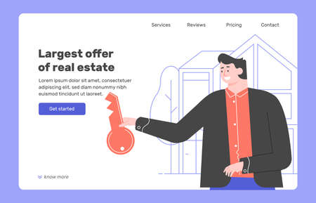 Man realtor with a key on the background of the house.