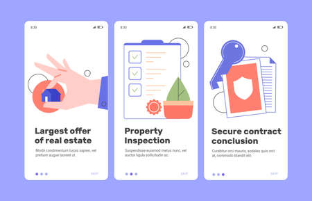 Mobile application for the sale of real estate Stock Illustratie