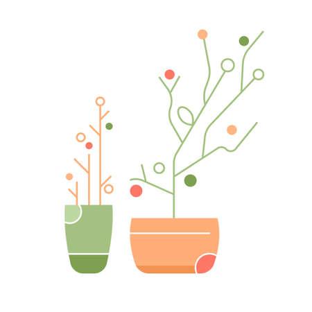 Two indoor plants. Stylish geometric flowers in pots. Stock Illustratie