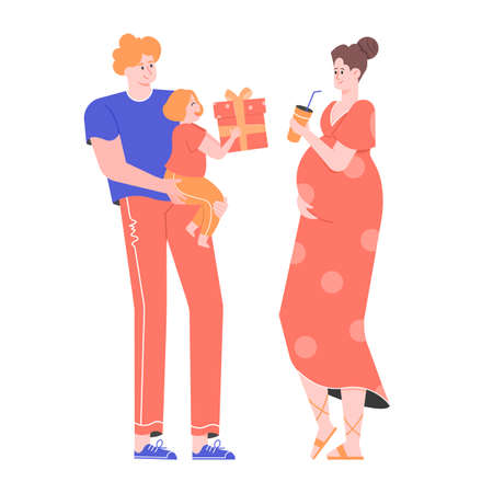 Happy family. Dad is holding a little daughter in his arms, giving a gift to their beloved mother. Stock Illustratie
