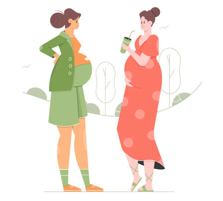 Two pregnant girlfriends on a walk. Cute female characters are chatting.