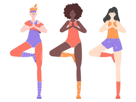 Three pretty girls are doing yoga. Tree pose. Group of multinational characters.