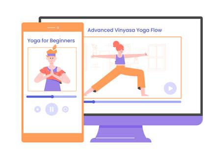 Yoga video application. Mobile and desktop version.