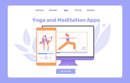 Yoga and meditation app. Mental health, sports, couple exercises.