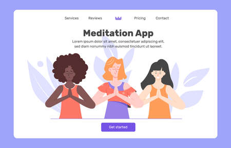 Application for meditation. Managing stress and emotions, breathing, self-involved. Stock Illustratie