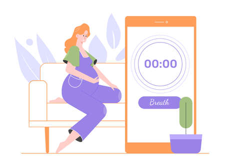 Pregnant pretty girl counts the time between contractions. Stock Illustratie