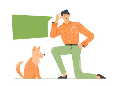 The man teaches the dog commands. Pet training. Correction of animal behavior. Stockfoto - 168548510